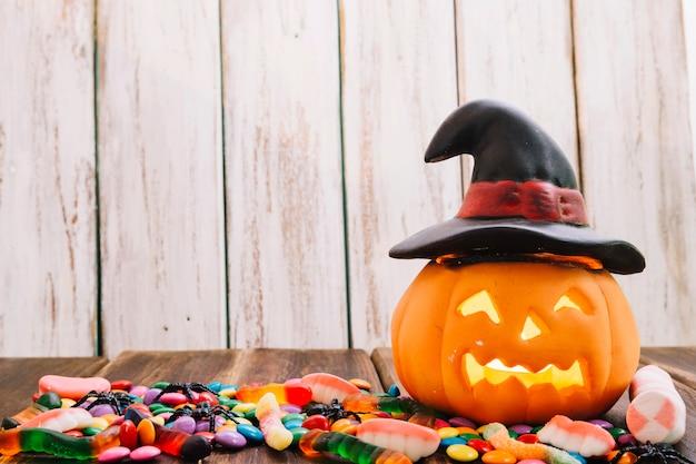 Jack-o-lantern in witch hat Free Photo