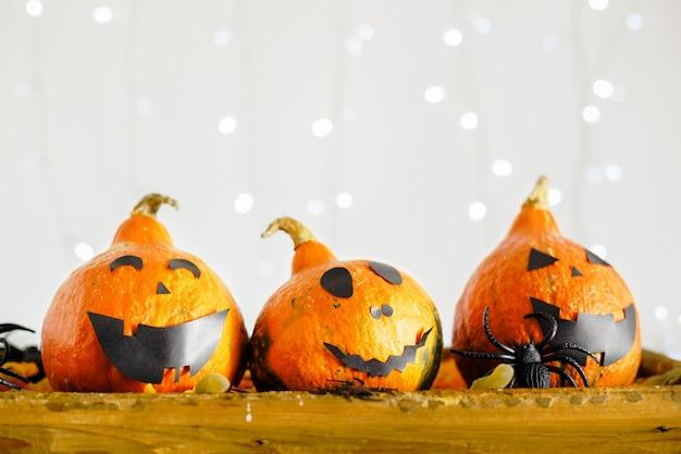 ジャック・オー・ランタン、甘いお菓子、ワーム、クモ、白い背景にライトが付いています。ハッピーハロウィンパーティーの招待状、お祝い。ハロウィーンの装飾のコンセプト。スペースをコピーします。