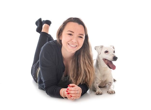 Jack russel terrier and woman