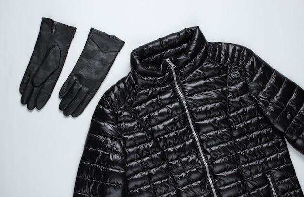 재킷, 회색 표면에 장갑