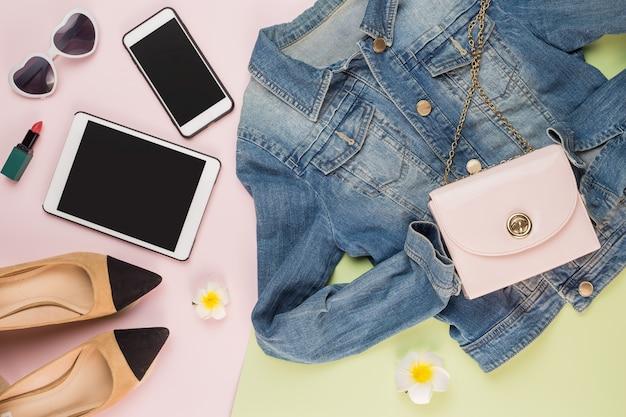 Jacket smart phone sunglasses high-heeled shoes