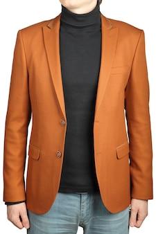 남자, 색 점토, 흰색 배경에 고립 된 이미지에 대 한 재킷 정장. 남성용 오렌지 자켓 슈트.