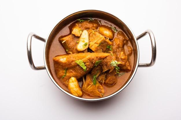 Jackfruit masala sabji or fanas sabzi or indian style spicy kathalã'âcurry, served in a bowl or karahi. selective focus