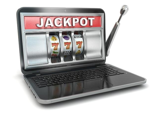 ジャックポット。オンラインギャンブルの概念。ラップトップスロットマシン。 3d