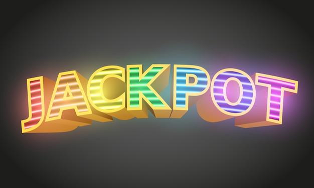 暗闇のジャックポットサイン。カジノのコンセプト。
