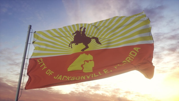 Jacksonville city flag waving in the wind, sky and sun background. 3d rendering
