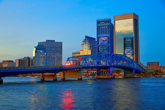 Jacksonville skyline evening in florida usa