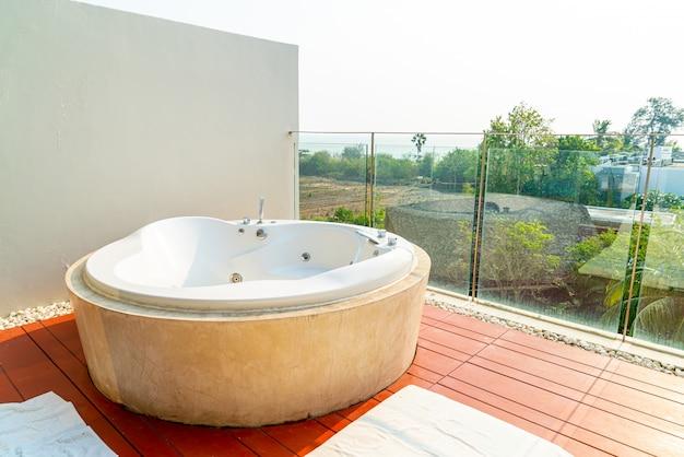 Jacuzzi bath tub on balcony