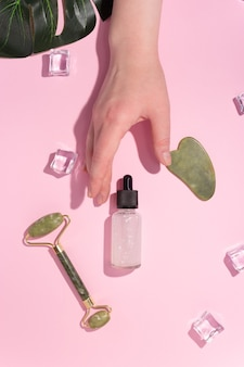 Jade gua sha scraper, roller face massager and cosmetic oil