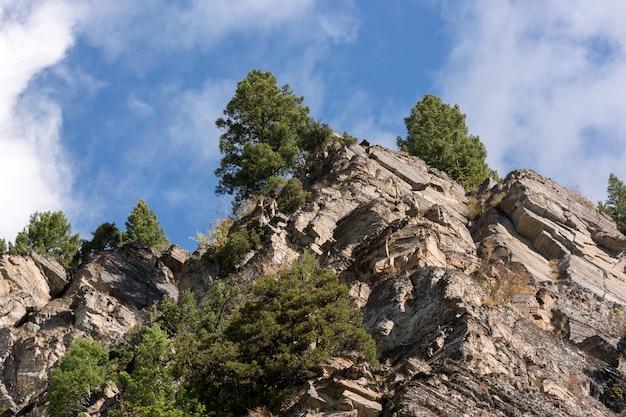 モンタナ州のホーランドクリークの上のギザギザの崖