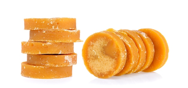 Jaggery on white wall