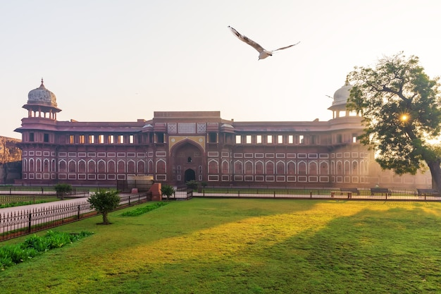 Jahangir palace in india, agra fort, sunny morning.