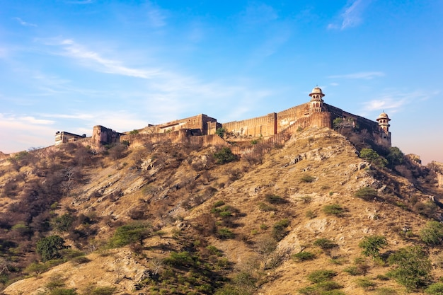 Jaigarh fort as seen from the amer fort, jaipur, india.
