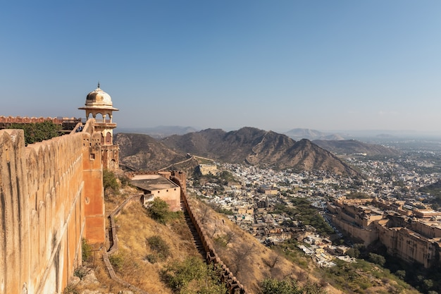 Jaigarh fort wall, aerial view in jaipur, india.
