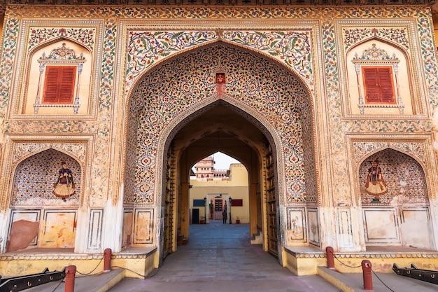 Jaipur city palace gates, traditional decoration of india.