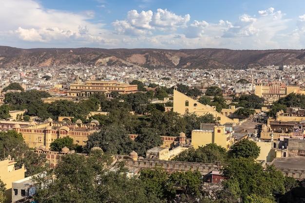 Jaipur downtown and jantar mantar monuments, india.