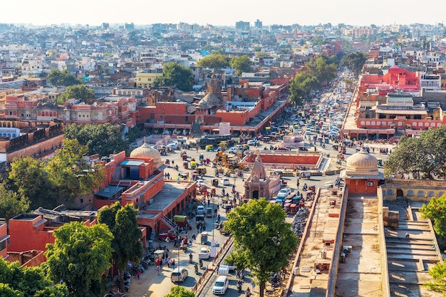 Jaipur downtown, pink city, aerial view in india.