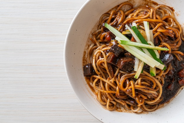 Jajangmyeon or jjajangmyeon is korean noodle with black sauce - korean food style