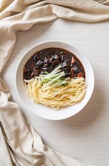 Jajangmyeon or jjajangmyeon is korean noodle with black sauce