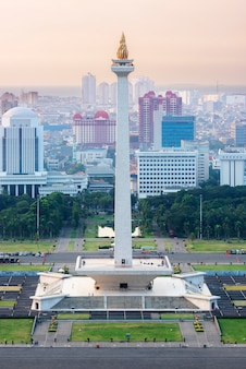 Jakarta city skyline with national monument (monas) in the afternoon