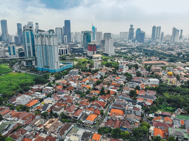 Jakarta city skyline with urban skyscrapers in the afternoon