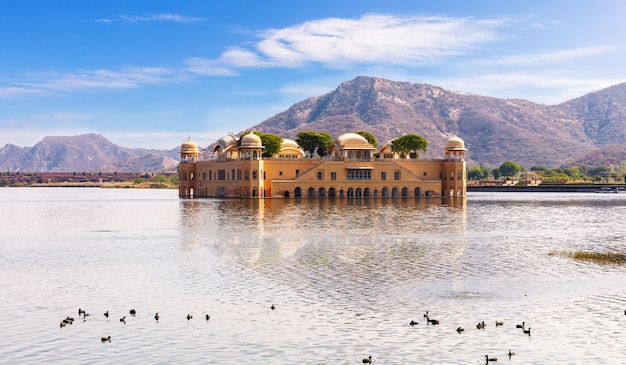 Jal mahal in india, jaipur, famous water palace.