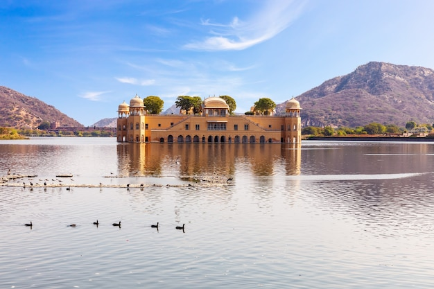 Jal mahal or the water palace, beautiful sunny day view, jaipur, india.
