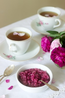Jam from the petals of the damascus rose