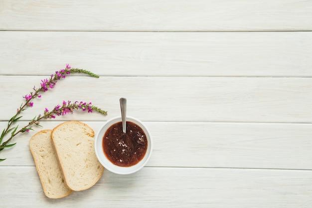 Jam and toasts in arrangement