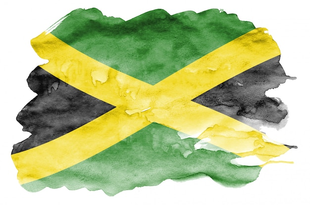 Jamaica flag  is depicted in liquid watercolor style isolated on white