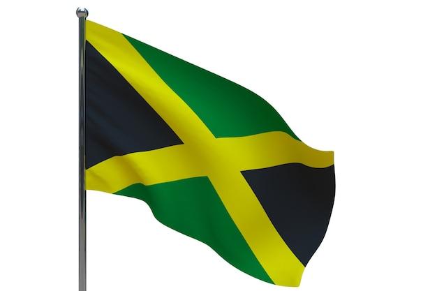 ポールのジャマイカの旗。金属製の旗竿。白のジャマイカの3dイラストの国旗