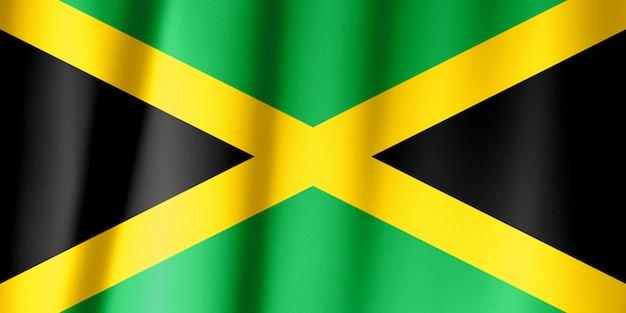 ファブリックのテクスチャ、ビンテージスタイルのジャマイカの旗パターン