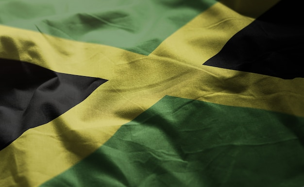 Jamaica flag rumpled close up