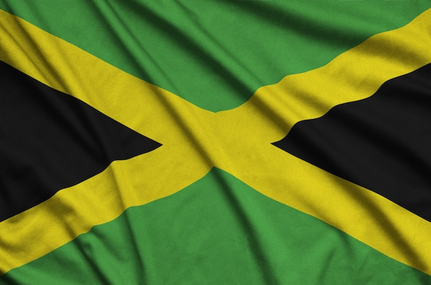 Jamaica flag with many folds.