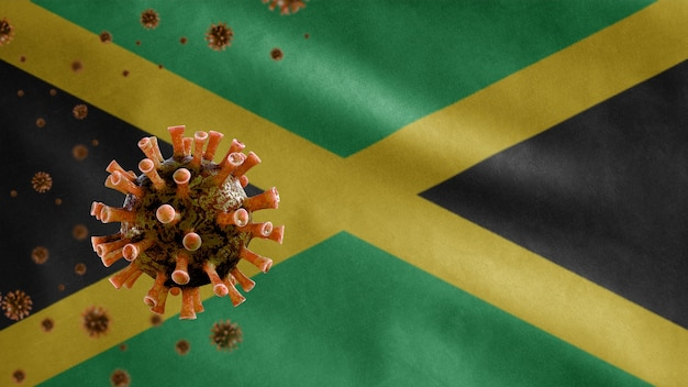 ジャマイカの旗を振って、コロナウイルス2019ncovの概念。