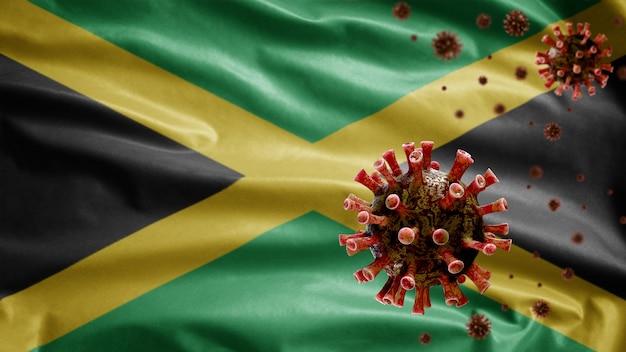 危険なインフルエンザとして呼吸器系に感染するコロナウイルスの発生で手を振っているジャマイカの旗