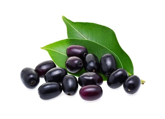 Jambolan plum or java plum on white background