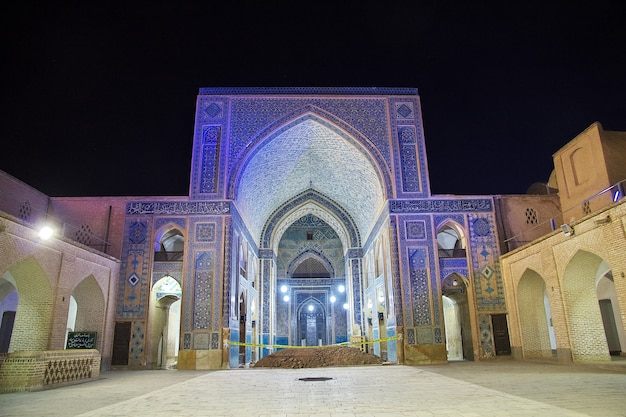 Jameh mosque in yazd at night, iran