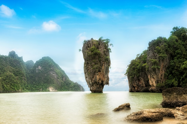 James bond island - famous landmark in phang nga bay, near phuket, thailand.