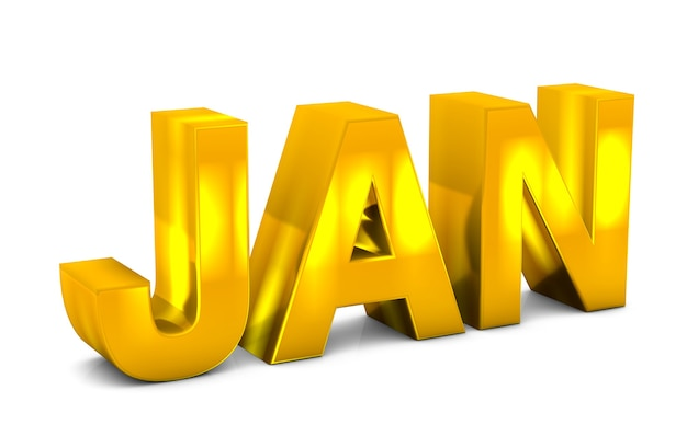 Jan gold 3d text january month abbreviation isolated on white background. 3d render.