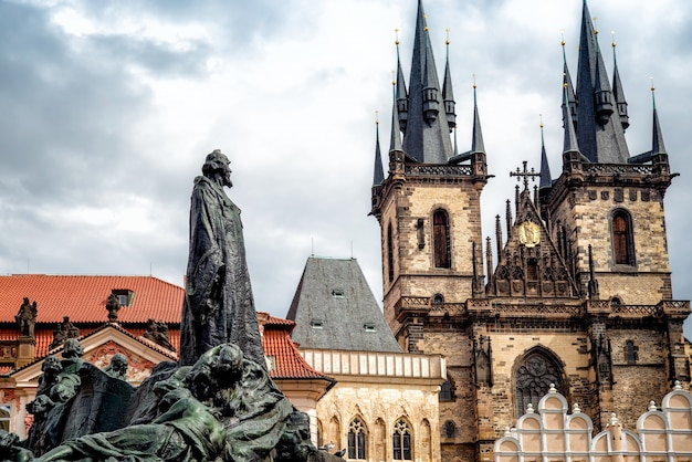 Jan hus monument in front of st mary church. prague, czech republic