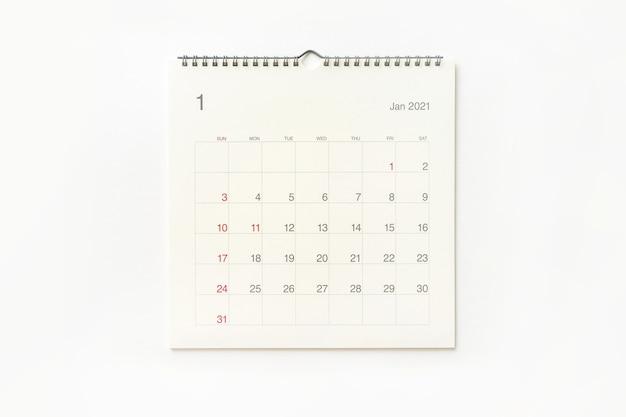 Страница календаря января 2021 года на белом фоне. фон календаря для напоминаний, бизнес-планирования, встреч и мероприятий.