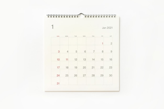 January 2021 calendar page on white background. calendar background for reminder, business planning, appointment meeting and event.