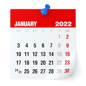 2022년 1월 - 달력. 흰색 배경에 고립. 3d 일러스트레이션