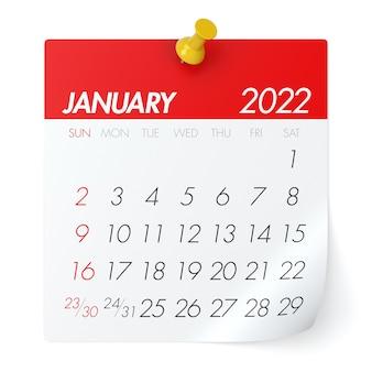January 2022 - calendar. isolated on white background. 3d illustration