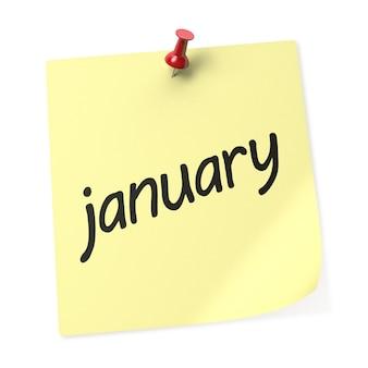 1月のカレンダー3dレンダリング