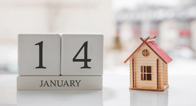 January calendar and toy home. day 14 of month. card message for print or remember