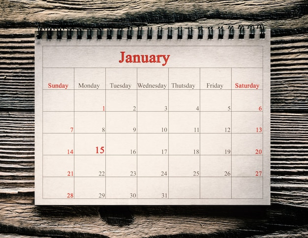 January  in the calendar on the wood background day martin luther king