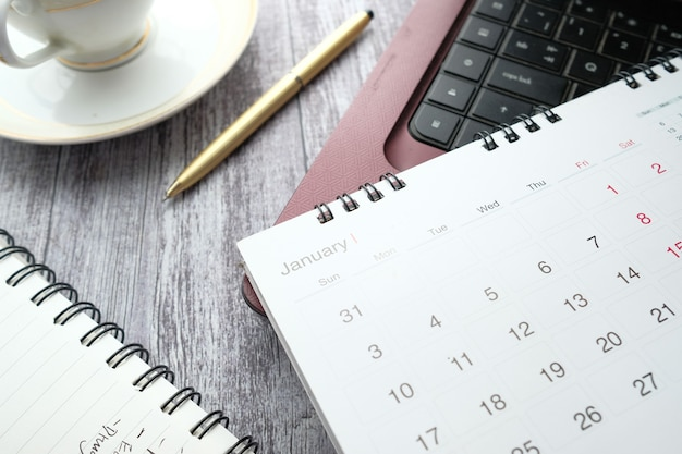 January month on calendar on office desk
