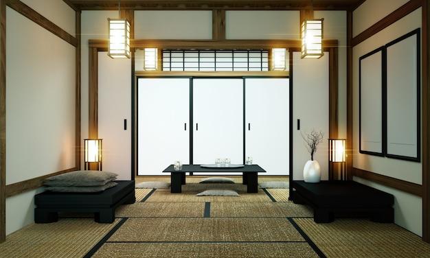 Japanオリジナルルーム - 和室デザインとインテリアスタイル。 3dレンダリング